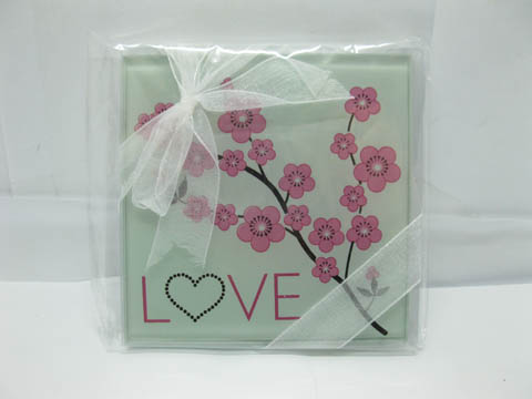 10Sets X 2Pcs Cherry Blossom Glass Coaster Wedding Favor We Gc14
