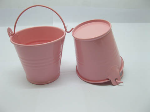12 Pink Mini Tin Pail Bucket 6x5x4cm Wedding Favor We O76 1440